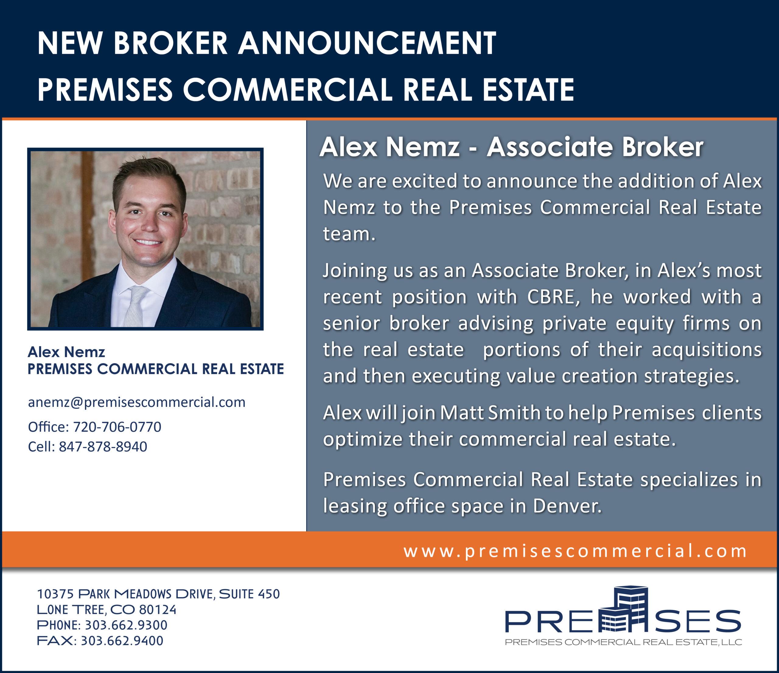 Alex Nemz - Premises Commercial Real Estate - Announcement